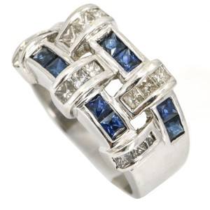 1.00 Carat 18k White Gold Sapphire Diamond Band Ring