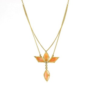 Anthony Nak Cross Necklace in 18k Yellow Gold with Pink Opal
