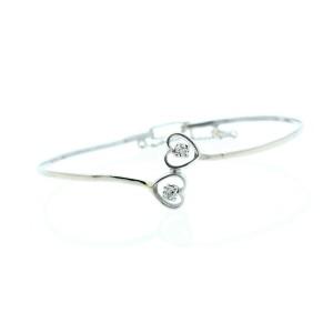 Fine Estate 14k White Gold Diamond Heart Bracelet Bangle