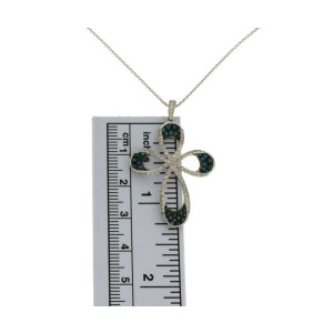 "1.10 CT Round Diamonds 14K Gold Cross Pendant Necklace Size 16""»N115"