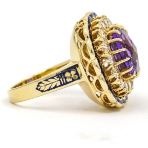 Amethyst Diamond Cocktail Ring in 14k Yellow Gold with Blue Enamel