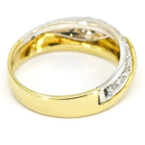 Salvini Two-Tone Diamond Wave Band Ring in 18k White and Yellow Gold