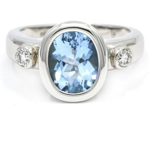 Aquamarine and Diamond Cocktail Ring in 18k White Gold