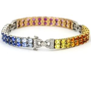 11.50 Carat Sapphire and Diamond Rainbow Tennis Bracelet in 18k Tri-Gold