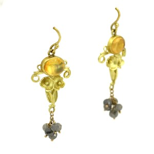 Stephani Briggs Jelly Opal and Blue Diamond Dangle Earrings in 22k Yellow Gold
