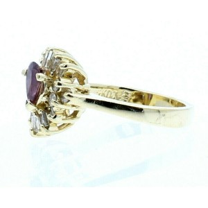 ESTATE 14K YELLOW GOLD AMETHYST .75CT DIAMOND LADIES RING 4 GRAMS SIZE 5