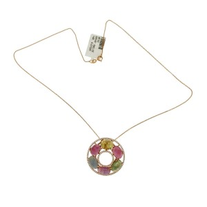 """Multicolor Stones 0.60 CT Diamond 14K Gold Circle Of Life Necklace Size16""""»N115"""