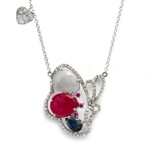 """Multicolor Sliced Sapphires & Diamonds 14K Gold Butterfly Necklace S 18&16""""»NP14"""