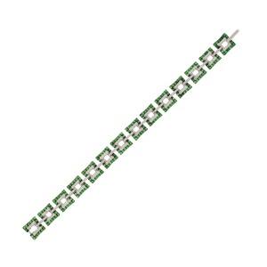 "2.24 CT Tsavorite & 1.10 CT Diamonds 14K White Gold Bracelet 7"""