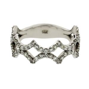 Fancy Art 14K White Gold 0.85 Ct Diamonds Wedding Band Ring Size 6-8