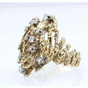 Fine Estate 14k Yellow Gold .90ct Diamond Nugget Style Ladies Ring Size 7