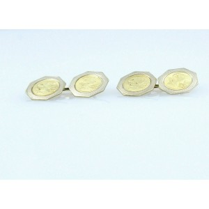 VINTAGE 14K YELLOW WHITE GOLD ROMAN GREEK HEAD CUFF LINKS  6.4 GRAMS