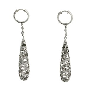 Fine 18K White Gold 1.28 Ct Natural Diamonds Drop Spiral With Hearts Earrings