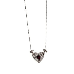 """18K White Gold 1.28 CT Diamonds & 0.50 CT Ruby Heart Necklace Size 17"""""""