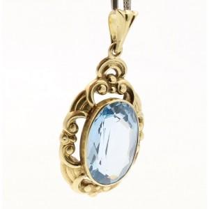 14k Yellow Gold Oval Blue Topaz Ornate Pendant Charm