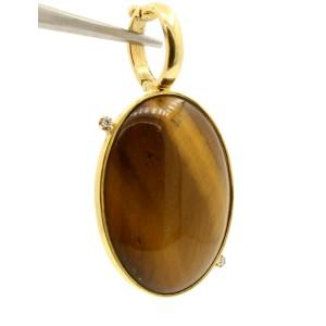 Faraone Mennella RFMAS 18k Gold Large Oval Tiger Eye Diamond Charm Pendant