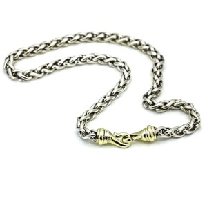"""David Yurman 6mm Wheat Chain Necklace in Sterling Silver and 14k Gold 16"""""""