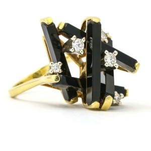 Onyx Diamond Vintage Statement Ring in 18k Yellow Gold