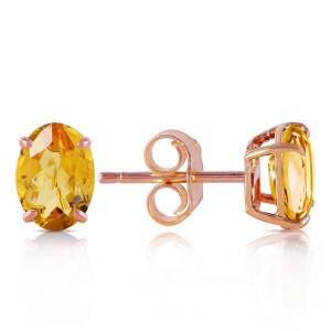 1.8 CTW 14K Solid Rose Gold Panache Citrine Stud Earrings