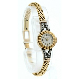 Ladies Vintage UNIVERSAL Geneve 18K Rose Gold Diamond Manual Wind Watch