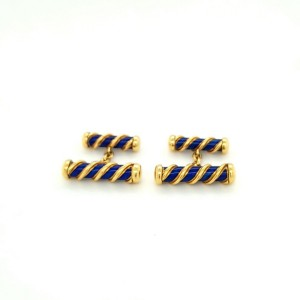 Authentic Tiffany & Co. 18k Yellow Gold Schlumberger Blue Navy Enamel Cufflinks