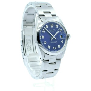 Mens Vintage ROLEX Oyster Perpetual Date 34mm Navy Blue Color Dial DIAMOND Watch