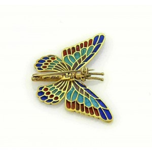 Multi-Color Enamel Plique-a-Jour Movable Butterfly 18k Gold Pin Brooch