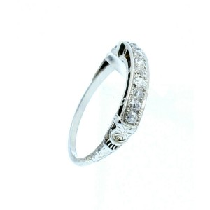 ESTATE Vintage 14k White Gold .60ct Round Diamonds Ladies Ring Band Size 7.5