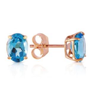1.8 CTW 14K Solid Rose Gold Panache Blue Topaz Stud Earrings