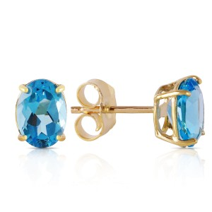1.8 CTW 14K Solid Gold Will Sing For You Blue Topaz Earrings
