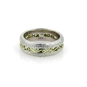 Tacori Platinum & 18k Yellow Gold Scroll Design 7mm Band Ring