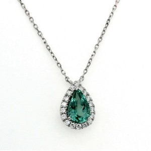 "CT Natural Green Paraiba 0.17 CT Diamonds 14K White Gold Necklace Size 16""-18"""