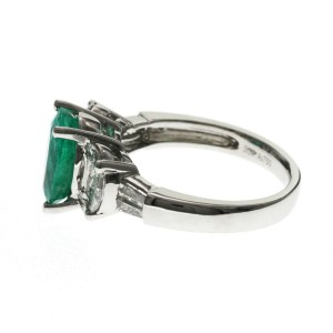 2.58 CT Colombian Emerald & .1.34 CT Diamonds in 18K White Gold Engagement Ring
