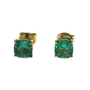 2.18 CT Colombian Emerald  0.54 CT in 14K Yellow Gold 6.5mm Stud Earrings