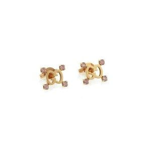 Gucci Logo Pink Sapphire 18k Rose Gold Stud Earrings