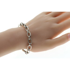 """Tiffany & Co. 925 Sterling Silver Oval Clasping Link Bracelet for Beads 7""""»U59"""