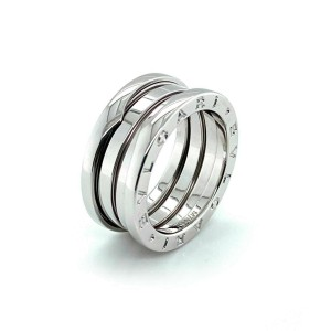 Bvlgari B.zero1 Three Band 18k White Gold Ring Size 53 Rt. $2,100