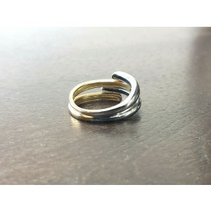 Fine Estate 18k White Yellow Gold Free Form Ladies Ring Size 7