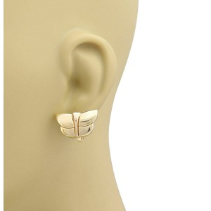 Bvlgari 18k Yellow & Rose Gold Butterfly Post Clip Earrings