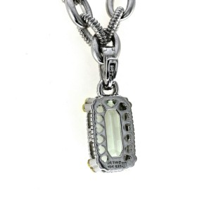 Judith Ripka 925 Silver 18K Gold Diamond Green Crystal Pendant Necklace Size 17""