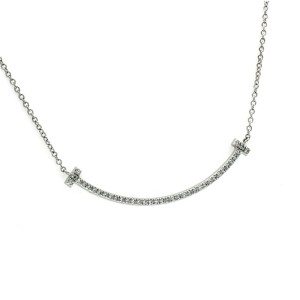 "Auth TIFFANY & Co. 18K White Gold T Smile Diamond Necklace Size 16"" »U223"