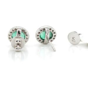 0.61 CT Colombian Emerald & 0.24 CT Diamonds in 14K White Gold 7mm Stud Earrings