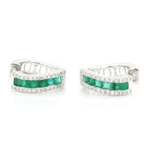 0.95 CT Colombian Emerald & 0.36 CT Diamonds 14K White Gold 15 mm Hoop Earrings