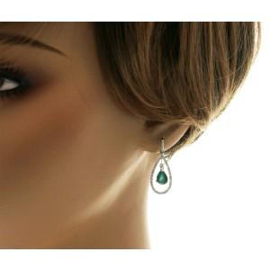 2.11 CT Colombian Emerald & 0.98 CT Diamonds 18K White Gold  Dangle Earrings