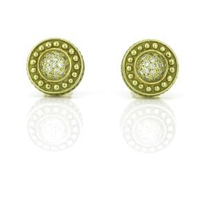 Pave Diamond Caviar Bead Round Stud Earrings in 14k Green Gold