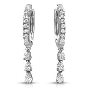 Fine 18K White Gold 0.99 Ct Natural Diamonds Drop Dangle Earrings