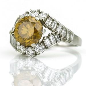 3.00 Carat Platinum GIA Certified Natural Fancy Orange Diamond Ring
