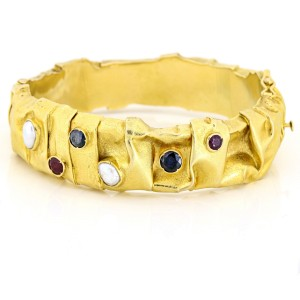 Ruby Sapphire Pearl Paper Texture Bangle Bracelet in 18K Yellow Gold
