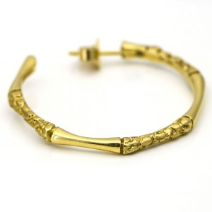 Bamboo Hoop Earrings in 18k Yellow Gold Signed GH