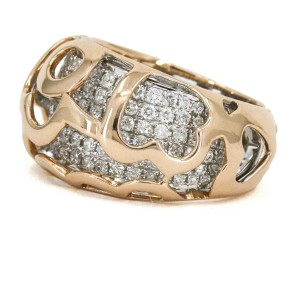Pave Diamond Dome Band Ring in 14k Rose and White Gold ( 1.31 ct tw )